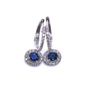 Oval Sapphire & Diamond Dangle Earrings