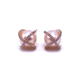 Pearl Stud & Diamond Earrings