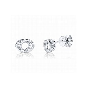 Double Circle Diamond Stud Earrings by Shy Creation