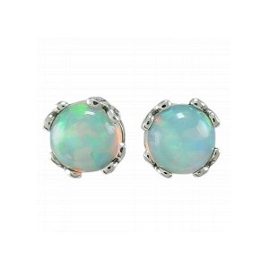 Sterling Silver Opal Stud Earrings by Samuel B.