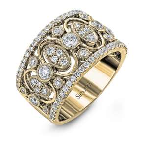 Diamond Antique style wide band by Simon G.