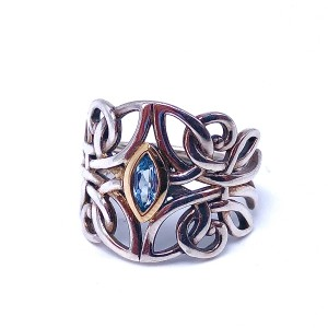 Sterling Silver & 10K Blue Topaz Angel Ring by Keith Jack