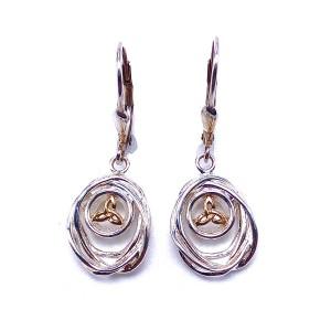 Sterling Silver & 10K Celtic Cradle of Life Earrings by Keith Jack
