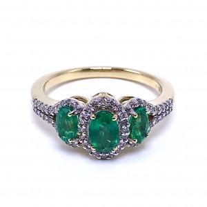 Ladies Three Emerald & Diamond Ring