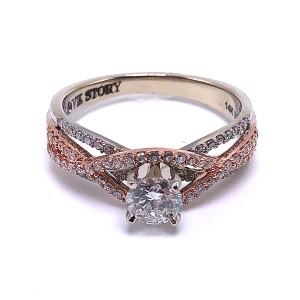 Round Diamond Woven Engagement Ring
