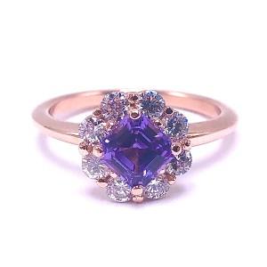Asscher Purple Sapphire & Diamond Ring