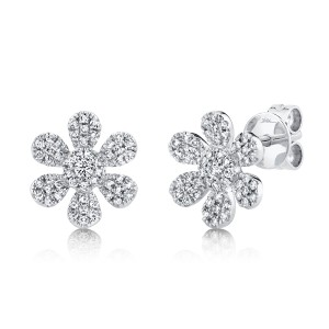 Diamond Flower Earrings by SHY Creation