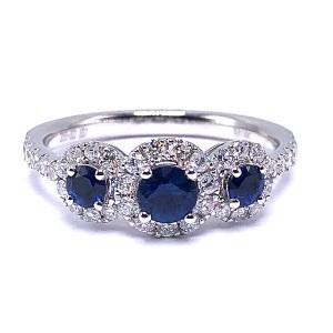 Ladies Three Sapphire & Diamond Ring
