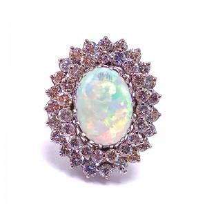 Estate Oval Opal & Diamond Ring