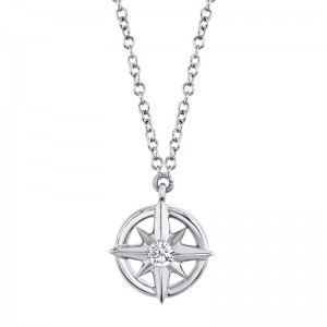 Diamond Compass Necklace by SHY Creation