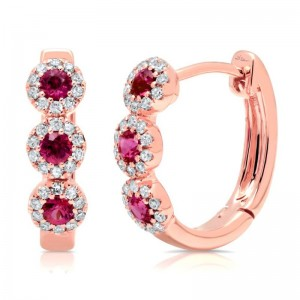 Ruby & Diamond Halo Huggie Earrings by SHY Creation