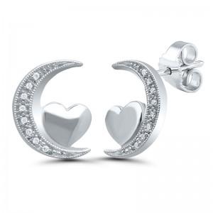 Sterling Silver Moon & Heart Diamond Earrings