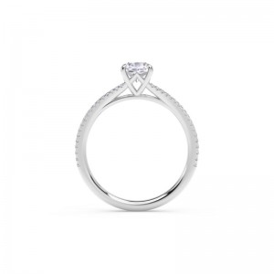 Forevermark Icon®  Setting™ Cushion Engagement Ring with Two Row Pave Band