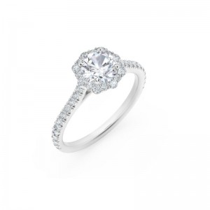 Center of My Universe® Floral Halo Engagement Ring with Diamond Band