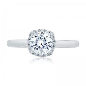 A.JAFFE Quilted Scalloped Halo Oval Engagement Semi Mount