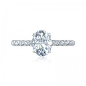 A.JAFFE Pave Twisted Band Oval Solitaire Semi Mount