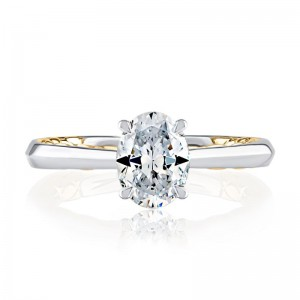 A.JAFFE Quilted Oval Engagement Semi Mount