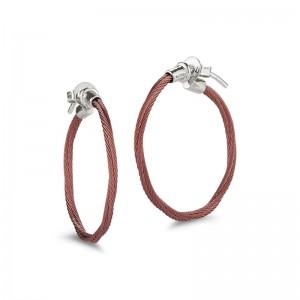Alor Burgundy Cable Hoop Earrings