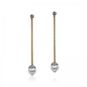 Alor Pearl Drop Earrings in 18K Yellow Gold