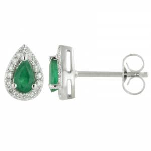 Pear Emerald & Diamond Earrings