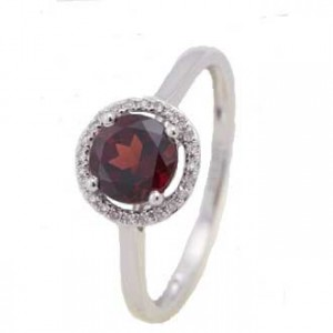 Round Garnet & Diamond Ring
