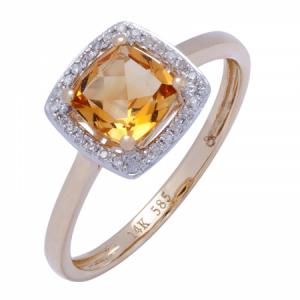 Citrine & Diamond Ring