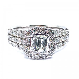 L'Amour Cushion Crisscut Diamond Engagement Ring