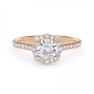 Forevermark Center of My Universe® Round Halo Engagement Ring with Diamond Band