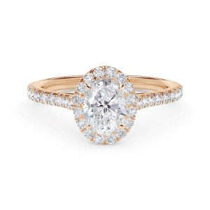 Forevermark Center of My Universe® Oval Halo Engagement Ring with Diamond Band
