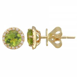 Round Peridot & Diamond Earrings