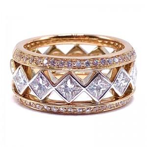Princess Cut & Round Diamond Band