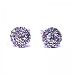 Multi Diamond Earrings & Pave Diamond Disc Pendant Set by SHY Creation