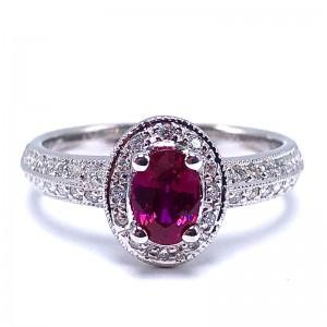 Oval Ruby & Diamond Ring