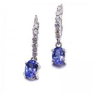 Oval Tanzanite & Diamond Earrings