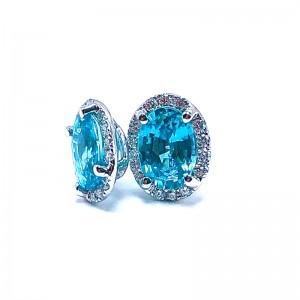 Oval Blue Zircon  & Diamond Halo Earrings
