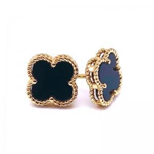 Onyx Clover Earrings