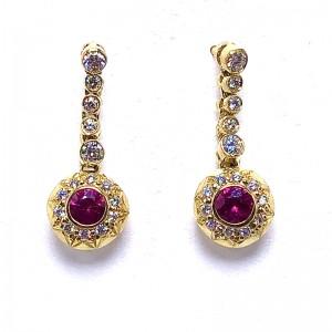 Round Ruby & Diamond Earrings