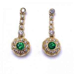 Round Emerald & Diamond Earrings
