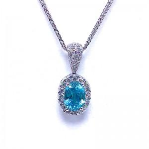 Oval Blue Zircon & Diamond Halo Pendant