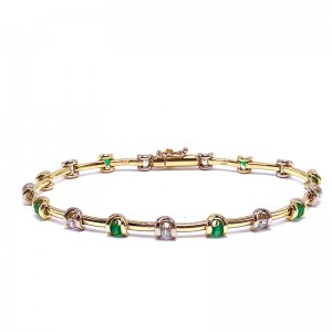 Round Emerald & Diamond Bracelet