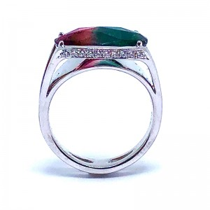 Watermelon Tourmaline  & Diamond Ring by Simon G.