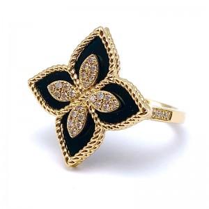 Diamond & Onyx Flower Ring