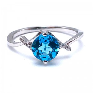 Swiss Topaz & Diamond Ring