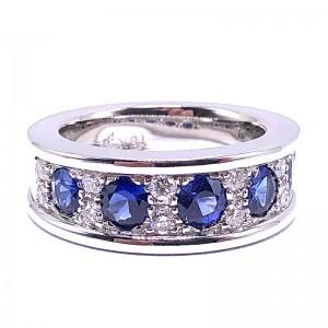 5 Round Sapphire & Diamond Ring