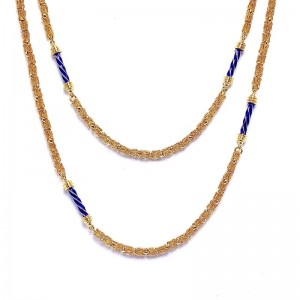 Enamel and Gold Handwoven Chain