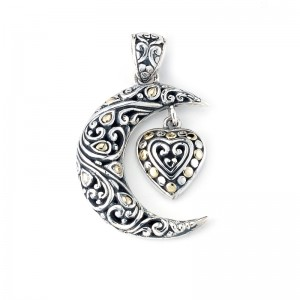 Sterling Silver Crescent Moon & Heart Pendant by Samuel B.