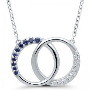 Sterling Silver Sapphire & Diamond Interlocking Circle Pendant