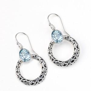 Sterling Silver Blue Topaz Circle Dangle Earrings by Samuel B.