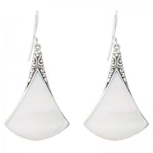 Sterling Silver Mother-of-Pearl Fan Drop Earrings. by Samuel B.