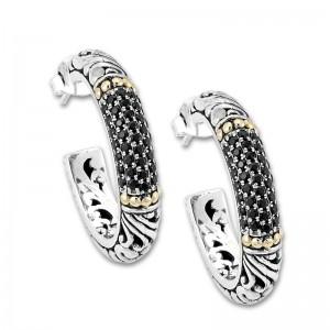 Sterling Silver Pave Black Spinel Hoop Earrings by Samuel B.